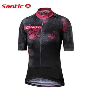 Santic Women Cycling Short Jersey Pro Fit Ladies Road MTB Bike Bicycle Jersey Short Sleeve Reflective Asian Size S-XL L8C02131