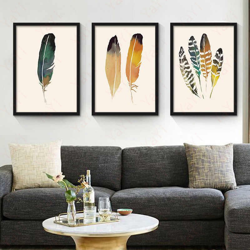 Nordic Minimalism Abstract Painting Feather Leaves Frameless Poster Decorative Picture Modern Home Decoration Wall Decor 1PC