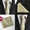 Homens Champanhe Paisley Floral Silk Gravata do laço Bolso Praça Handkerchief Set Lote HZ069