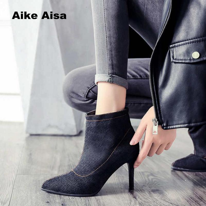 Y56 Talons 41 blue La Cheville De Chaussures D'hiver 35 Black Femmes Taille Chaude Haute Mujer Mode Automne Botas Boot Genou Femme Plus Bottes Denim qx1FXtFAw