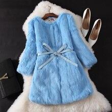 Mulheres coelho genuine fur coats médio longo um pedaço de pele real jaqueta de inverno pele morno femme casaco de pele outwear quente frete grátis