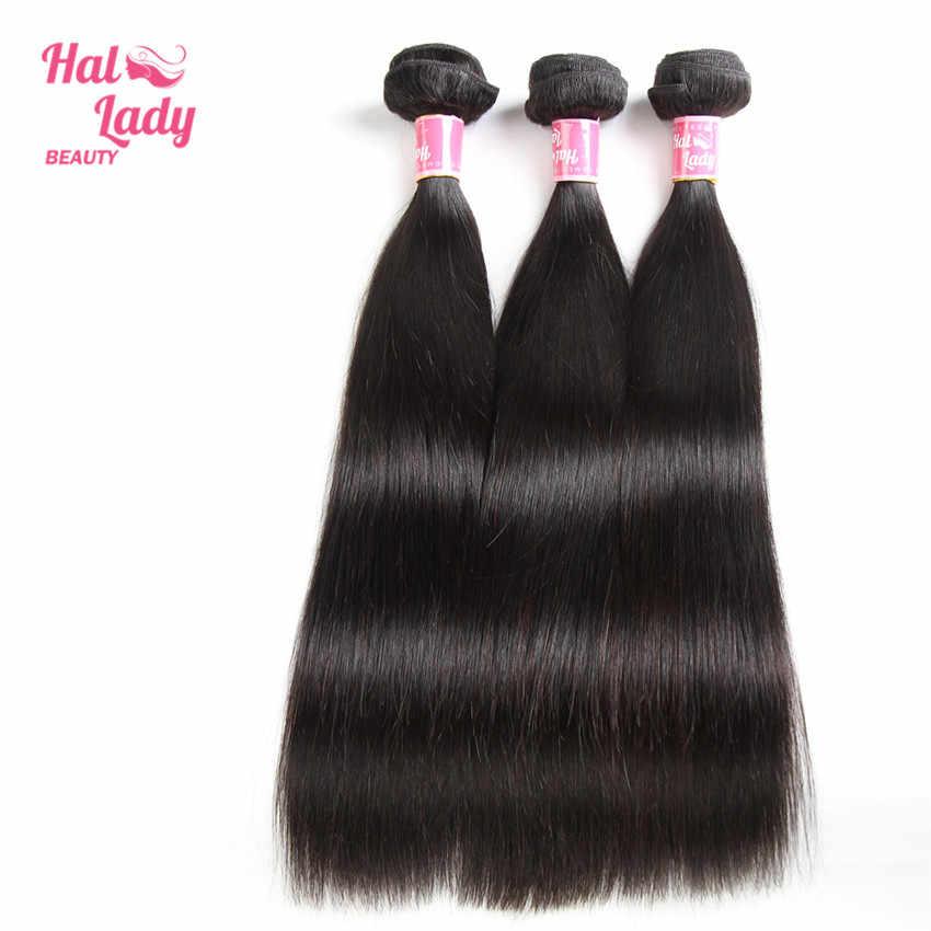 Halo Dame Schönheit 3Pcs Lot Brasilianische Gerade Haar Bundles 100% Menschenhaar Spinnt 20 22 24 zoll Nicht- remy Haar Extensions 1B