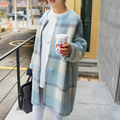 2014 Womens Blue New Nasty Gal Cardigan Coat Check You Out Coatigan Oversize Loose Plaid Long Knit casacos femininos Top