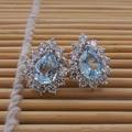 Luxurious topaz earring stud earrings 925 Solid Sterling Silver Vintage stud earrings 100% natural topaz jewelry for girl