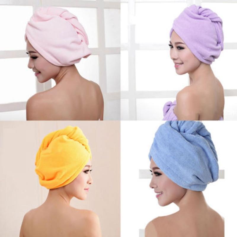 Dry Hair Hat Towel Wrap Turban Head Hat Bun Cap Shower Dry Microfiber