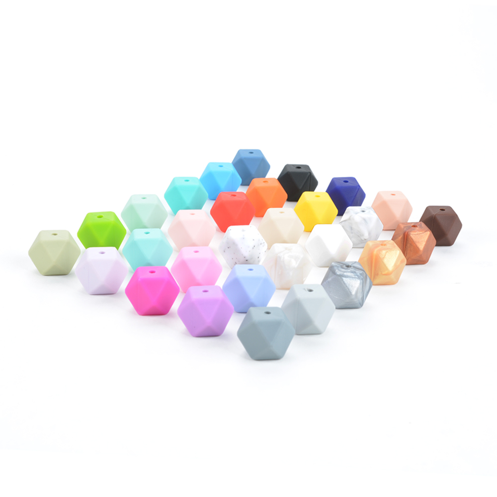 Image 5 - Wholesale Large Hexagon Loose Silicone Beads Baby Teething Necklace Silicone Teether Beads For Baby Teether BPA Safe Loose Beads-in Baby Teethers from Mother & Kids