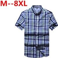 9XL 8XL 6XL 4XL Men's short sleeved plaid shirt summer England shirt mens slim fit casual shirts short sleeve shirts male
