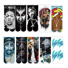 2018 Harajuku Men/Women 3d Ankle Socks Characters 2pac tupac Print Socks Unisex Polyester Cotton Funny Autumn Spring Sock