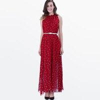 Sisjuly Women Summer Polka Dot Dress Female Expansion Round Neck Dresses Sleeveless Ankle Length Female Summer