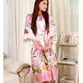 2020 Rosa Moda das Mulheres Chinesas de Cetim de Poliéster Pintado Kaftan Peri Quimono Veste de Banho Vestido De Roupão De Banho Com Cinto Plus Size M-XXXL