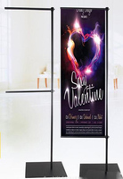 Metal Stainless Steel Flag Banner Display Rack Frame Store Welcome Poster Display Floor Standing Outdoor Promotion