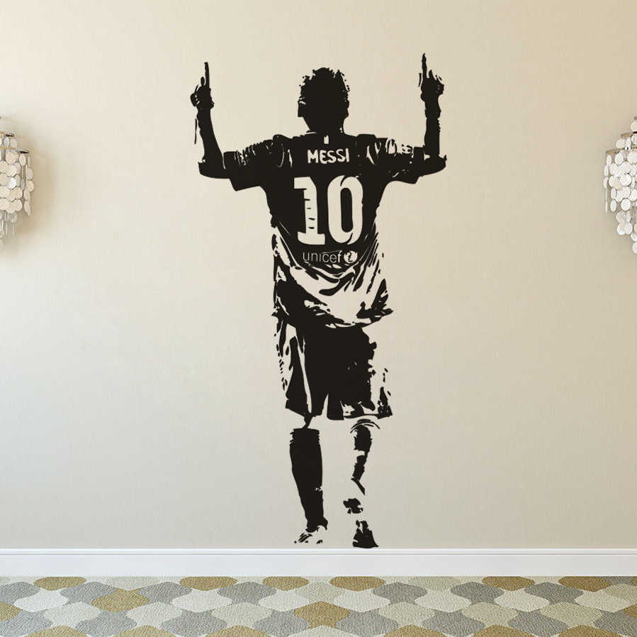 Messi Football Star Wall Sticker Home Decor Removable Vinyl Messi Wall Poster Football Club Player Wall Decal Boys Gift Az172 Wall Stickers Aliexpress
