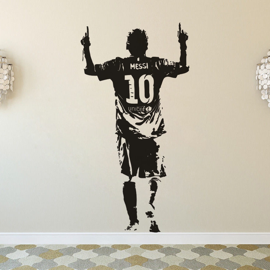 Наклейка на стену с изображением футбола Месси, домашний декор, Съемный Виниловый настенный постер с изображением футбола, клуба, игрока, на...