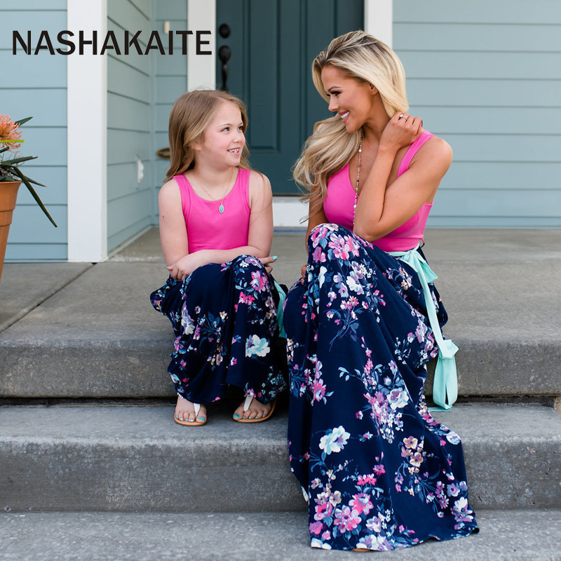 HTB1szlRaizxK1RkSnaVq6xn9VXaE - NASHAKAITE Mother daughter dresses Floral Printed Long Dress Mommy and me clothes Family matching clothes Mom and daughter dress