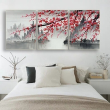 Laeacco Canvas Chinese Art Painting Calligraphy Posters and Prints Plum Flower Wall Artwork Pictures for Living Room Home Decor