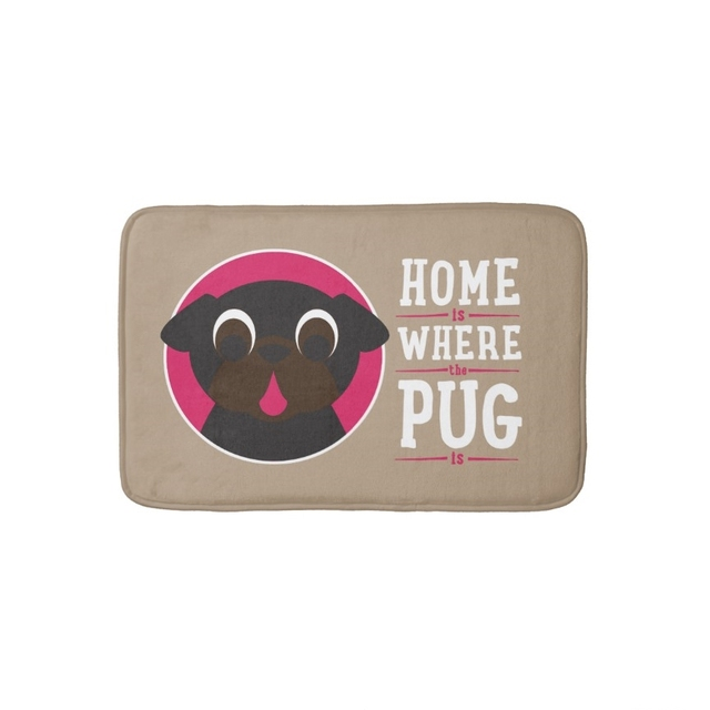 Animal Dog Pet Door Mat Home Is Where The Pug Is Bathroom Mat Kitchen  Carpets Anti