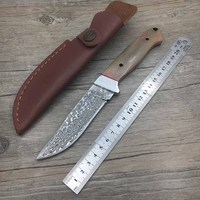 Damascus Steel Blade Horn Handle Camping Knife Portable Survival Hunting Knives Fixed Blade Straight Knife