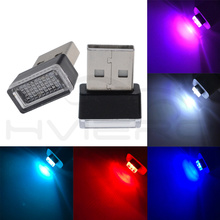 5X Car USB LED DC 5V Red/Blue/White/Pink Atmosphere Decorative Lamp Emergency Lighting Universal PC Portable Plug and Play
