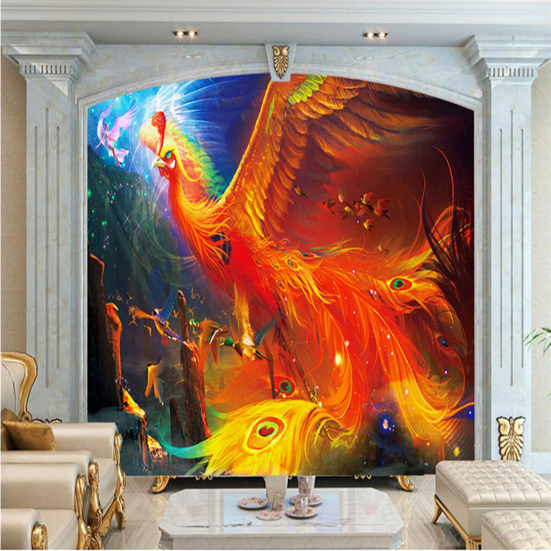 custom 3d photo wallpaper wall 3d mural wallpaper phoenix abstract painting living room bedroom TV background wall home decor free shipping 3d wall breaking basketball background wall bedroom living room studio mural home decoration wallpaper