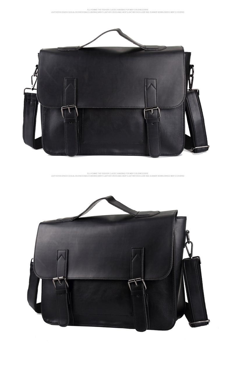 HTB1szm.R3HqK1RjSZJnq6zNLpXau Crazy Horse Artificial Leather Business Handbag Laptop Briefcases for Men Leather Casual Men Bag Messenger Shoulder Bags Man
