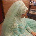 Veu De Noiva Longa Hip Length Pearls Beaded Multi_ Layer Lace Muslim Hijab Bridal Acessorios Marriage Wedding Veils With Comb