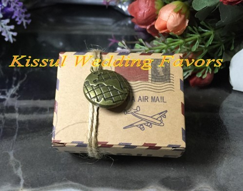 100pcslot 2017 Party Favor Map Box Vintage Inspired Airmail Kraft