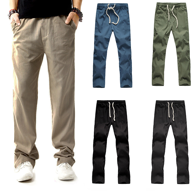 Laamei Male Trousers Harem-Pants Linen Casual Fashion Autumn Low-Waist Drawstring Men
