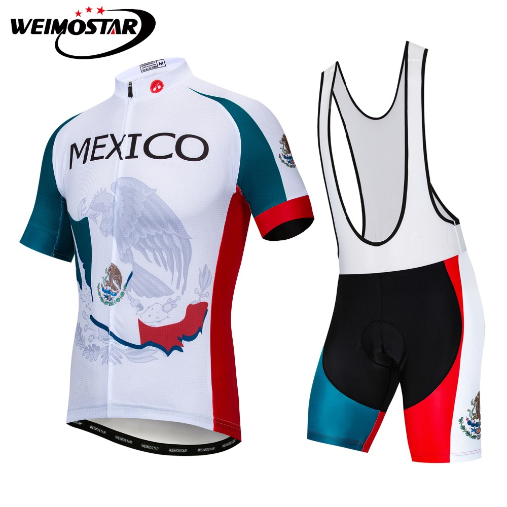 Mexico Team Men's Cycling Jersey Bib Sets Pad Shorts Summer Short Sleeve Bike Clothing Maillots Ropa Ciclismo Bicycle Clothes