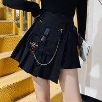 LMCAVASUN M 4XL Gothic Punk Harajuku Women Casual Cool Chic Preppy Style Red Plaid Pleate Black Female Fashion Shorts Skirts