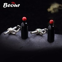 High quality Men's Jewelry wedding cuff links Black Wine Bottle beer bar 1409 free shipping