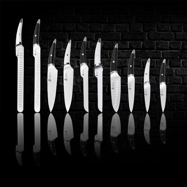 TUO çatal ekmek bıçağı-japon HC paslanmaz çelik mutfak kek dilimleme bıçağı-kaymaz ergonomik siyah saplı fırça-8''