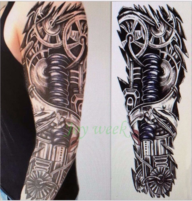 Waterproof Temporary Tattoo Sticker Full Arm Large Skull Devil Clock Tatto Stickers Flash Tatoo Fake Tattoos For Men Women 27