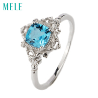 Natural Blue Topaz Silver Ring Cushion 6mm 6mm Ocean Blue Color Topaz Elegant And Exquisite Design