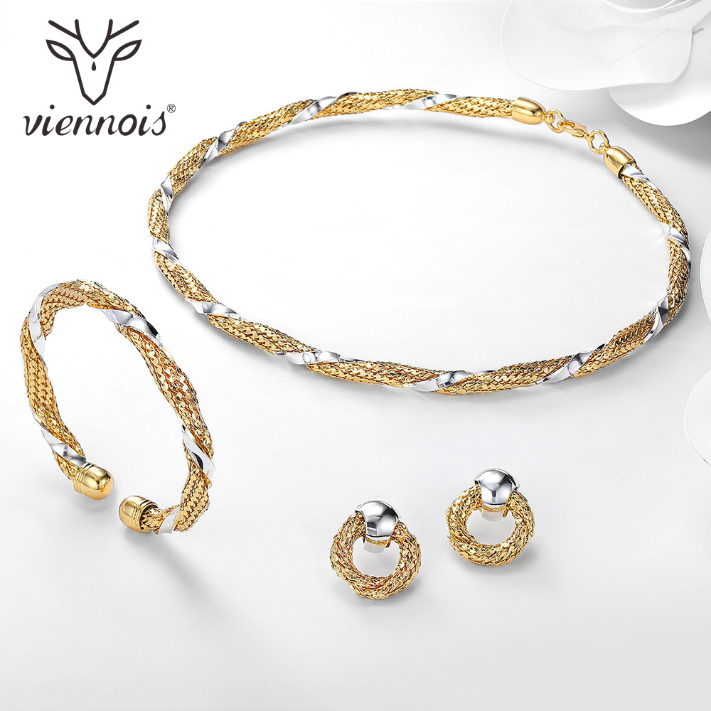 Viennois Gold Silver Color Jewelry Set for Women Round Stud Earrings Choker Necklace Cuff Bracelet & Bangles Female Party Set viennois gold silver color jewelry set for women round stud earrings choker necklace cuff bracelet