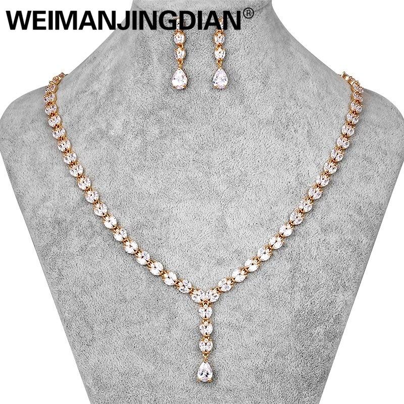 8cb22f4e1ea3 Compra cubic zirconia necklace   earring set y disfruta del envío gratuito  en AliExpress.com
