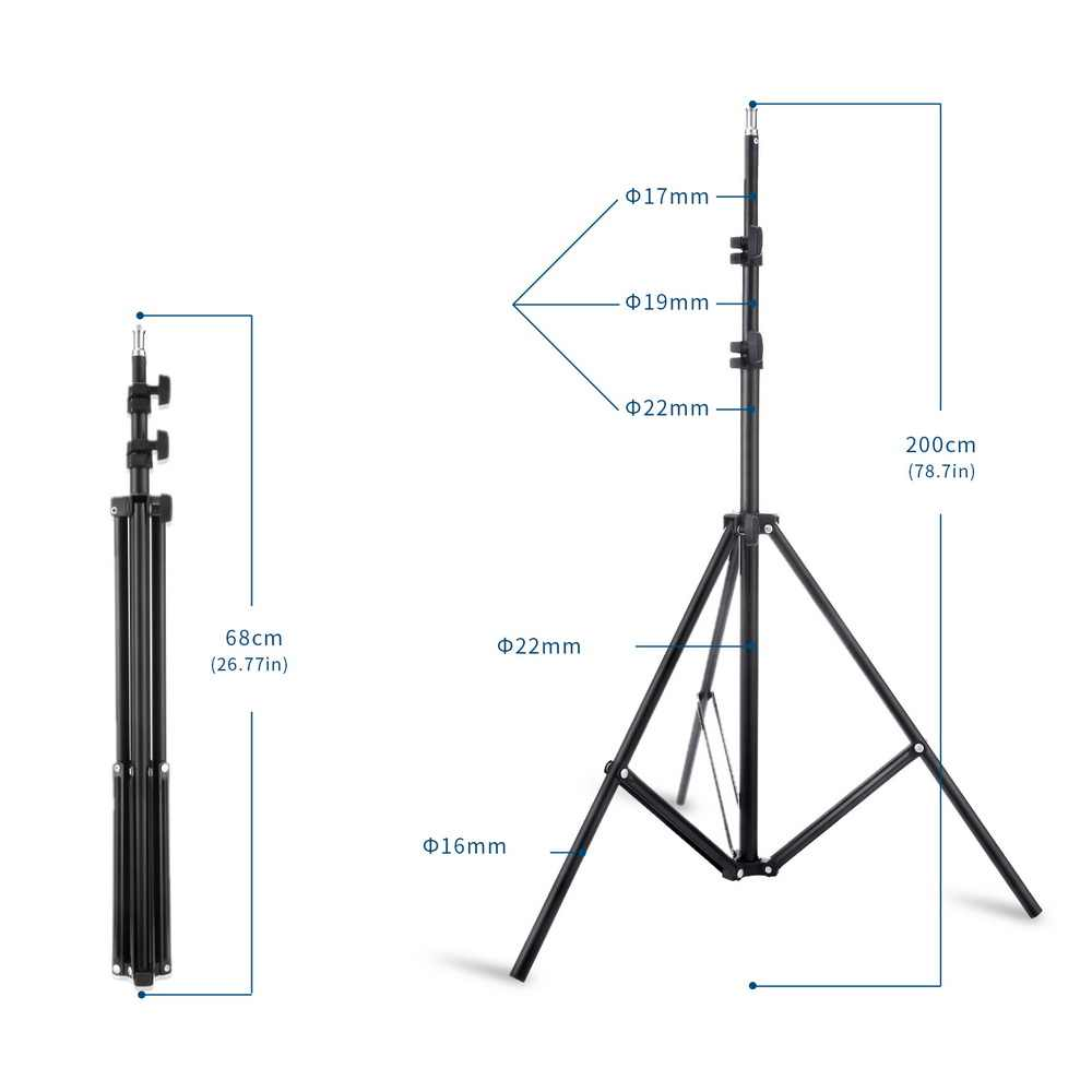 2M Light Lamp Stand Tripod with 1/4 Screw Head for Photo Studio Softbox Video Flash Umbrella Reflector Lighting