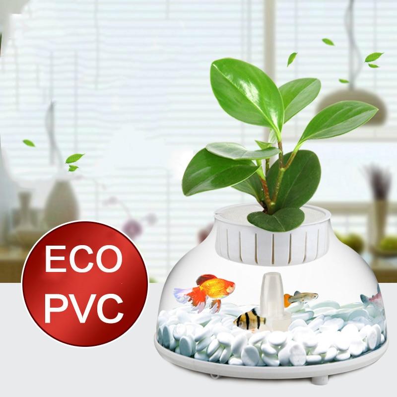 SUNSUN Aquarium avec filtre pneumatique changement d'eau gratuit Cage Reptile Betta tortue réservoir Aquarium Pots de plantes Table Mini poisson bol