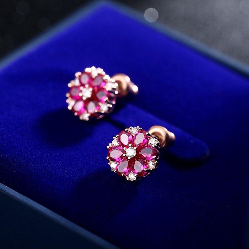 SexeMara flor Stud pendiente pendientes de plata de ley 925 mujeres Rosa piedra de circonio cúbico moderna joyería de moda mujer de lujo