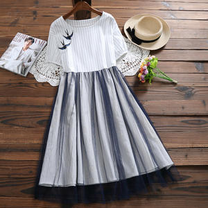 Alyaboomty Summer Women Casual Stripe Embroidery Mesh Dress