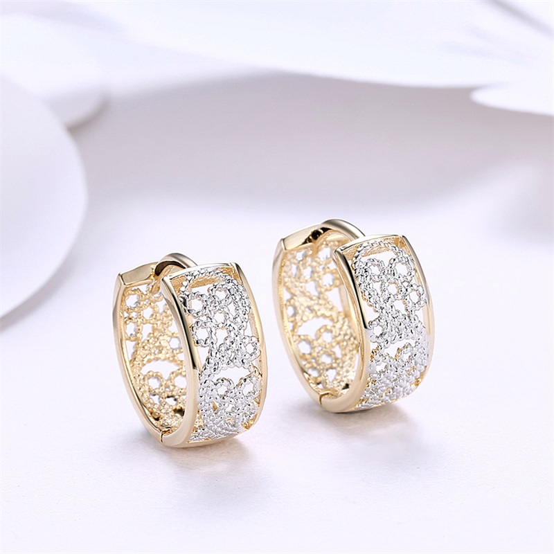 HIYONG Patterns Hollow Romantic Earrings Ear Clip Two Tone Color ...