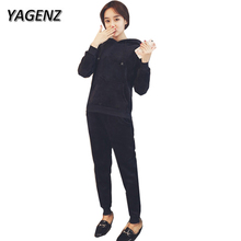 YAGENZ Autumn 2 Piece Sets Women Sporting Suit 2017 Casual Gold velvet Loose Hooded Tops+Trousers Sportswear Clothing Sets 3XL