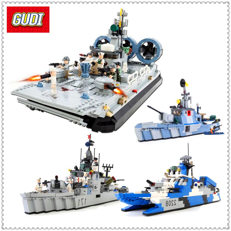 GUDI Naval Forces Warning Boat Offshore Picket Ship Building Block Brinquedos  Toys For Children Compatible Legoe gudi 8023 naval forces warning boat offshore picket ship minifigure building block 520pcs bricks toys best legoelieds toys