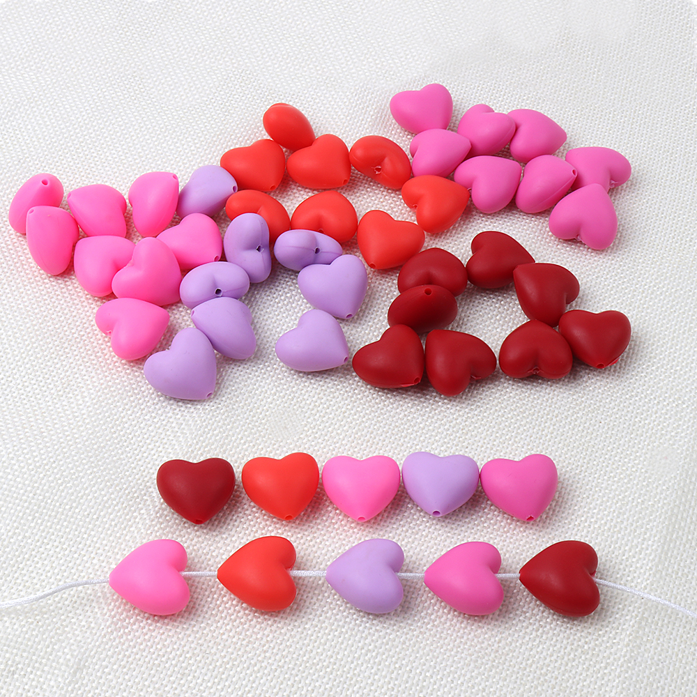 TYRY.HU 20pcs/lot Heart Silicone Beads Baby Teether Silicone Teething Beads For Necklace Food Grade Silicone