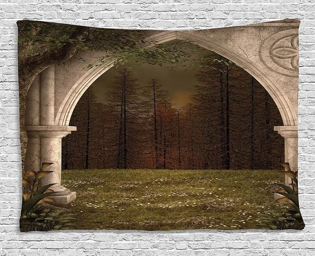 Gothic Decor Tapestry Old Retro Arch In Garden Renaissance Meadow Forest  Dark Scary