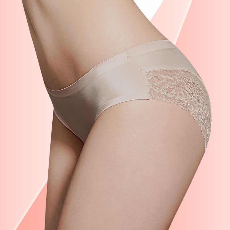 Bragas เซ็กซี่ de encaje de mujer ropa ภายใน sin costuras bragas de seda de nailon para niñas señoras บิกินี่ de algodón entrepie