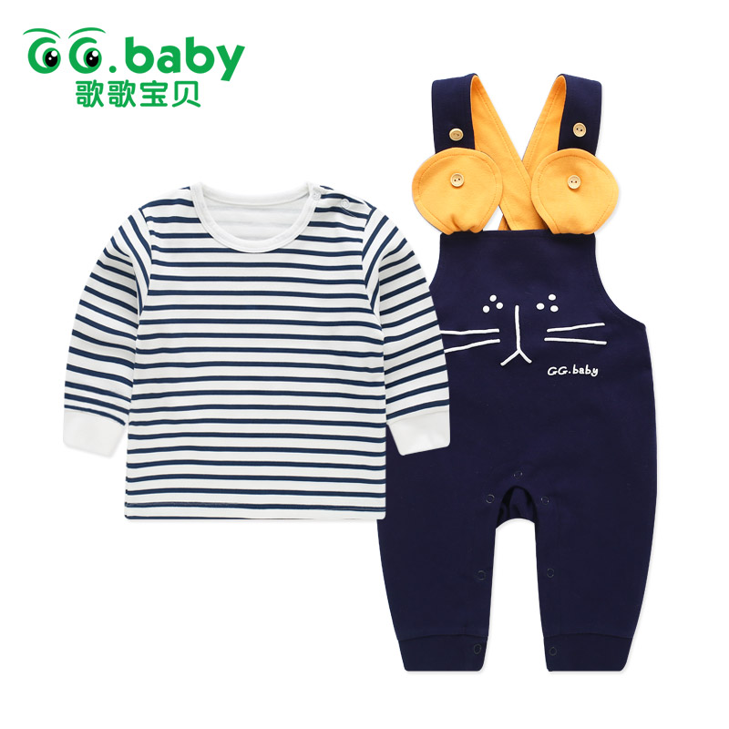 купить Striped Baby Girl Outfit Clothes Long Sleeve Newborn Baby Boy Clothes Set Navy Tshirt Baby Set Boy Clothing Pants Sets Overalls онлайн