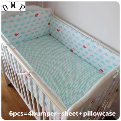 Promotion! 6PCS Crib Baby Bedding Set Cotton Newborn Baby Bumper Crib Cartoon Bed Set Unisex,(bumpers+sheet+pillow cover)