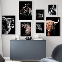 Lion Tiger Panther Zebra Bull Wall Art Canvas Painting Nordic Posters And Prints Animal Pictures For Living Room Home Decor