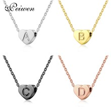 купить A-Z Initial 26 Letters Heart Pendant Necklace Gold Silver Rose Color Stainless Steel Chain Choker Alphabet For Women Men Jewelry дешево
