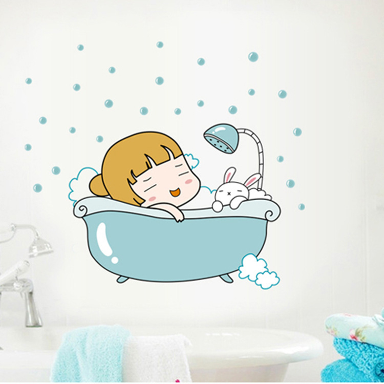 A new cartoon wall sticker sheet bath little girl bathing baby fashion stickers decoration